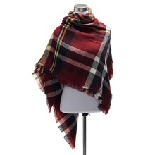 100pcs lot scarfs fashionable Za Fashion Winter Women Cashmere Plaid Tartan Blanket Scarf Pashmina Scarves Shawl
