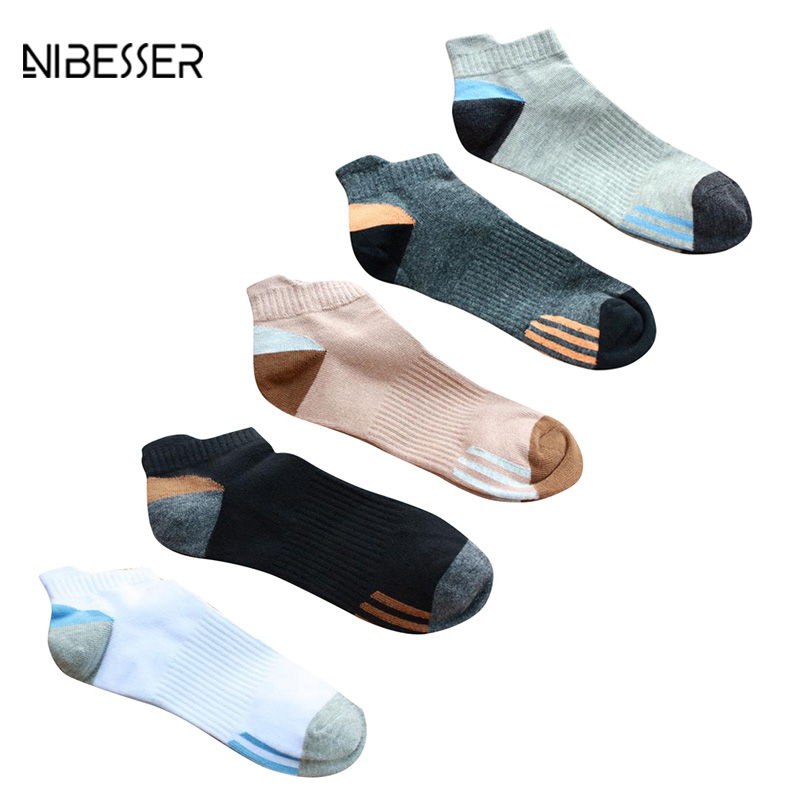 2017 NIBESSER Patchwork Pattern Men Socks Breathable Funny Fitness Socks Male No Show Socks Casual In