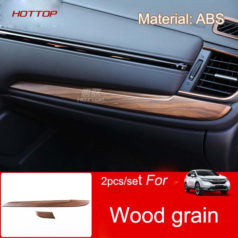Wood Grain Center Control Panel Trim Car Styling Relieving Heat And Sunstroke Hottop For Honda Cr-v Crv 2017 2018 5th Gen At lhd&rhd