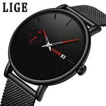LIGE Red pointer Quartz Clock Mens Watches Top Brand Luxury Watch For Men Simple All Steel Waterproof Wrist Watch Reloj Hombre цена и фото