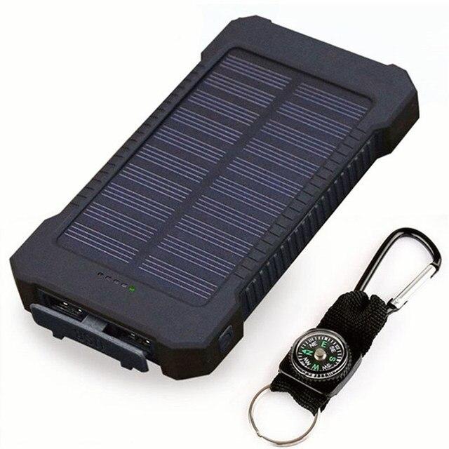Banco de energía Solar impermeable 30000 mAh Cargador Solar 2 puertos USB cargador externo batería para Smartphone Xiaomi con luz LED