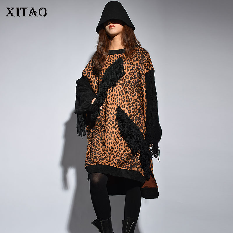 See Zll2340 Manches Streetwear xitao Gland Féminine Femmes Léopard À Robe Picture Genou O cou Winter Nouveau Mode Pleine 2018 longueur FUwTzqp1U