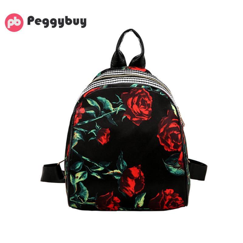 4215f7f11040 Best buy Women Leather Backpack Flower Floral Backpacks For Teenage Girls  Small Printing Backpack Female Schoolbag Rucksacks For Girls online cheap