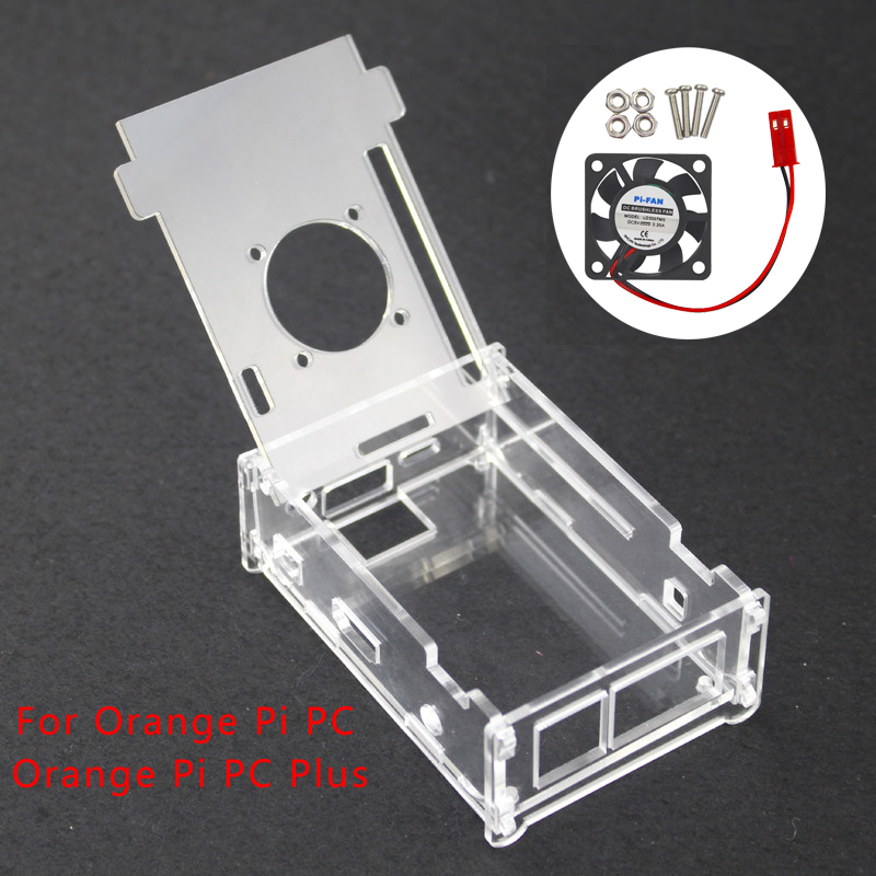 For Orange Pi PC Case Acrylic Case Box Orange Pi PC Plus Clear Shell Enclosure With Cooling Fan Cooler For Orange Pi PC/PC Plus