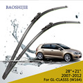 "Windscreen wiper blades para Mercedes Benz GL CLASSS (W164) (2007-2012), 28 ""+ 21"", de borracha Bracketless windscreen HY-017"