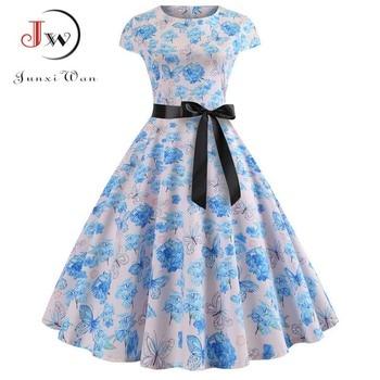 Women Vintage Dress 2019 Summer Floral Print Short Sleeve Dresses 50s 60s Office Party Rockabilly Swing Retro Pinup Plus Size 5