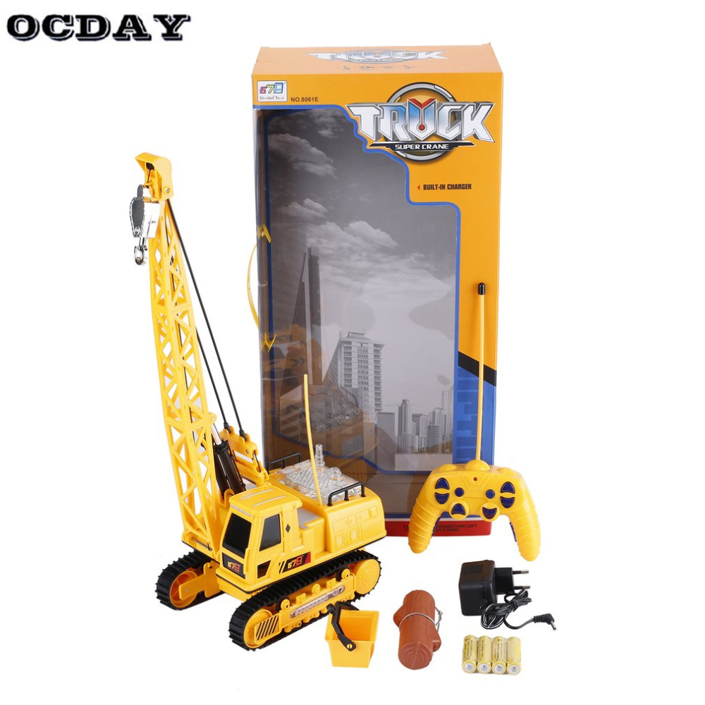 OCDAY Kids Toys RC Car Excavator Crawler Digger Music Light Wireless Remote Control Crane Model Electric Engineering Vehicle Toy