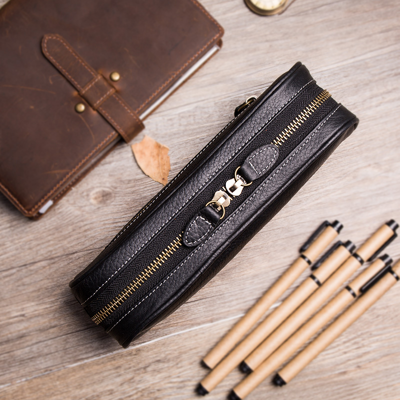 Pencil Case Vintage Genuine Leather Bag School Black Fountain Pen Case Cowhide stationary pouch for the artists accessoire