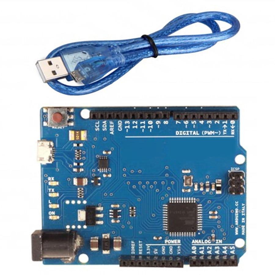 5pcs/lot Leonardo R3 ATmega32u4 Development Board with USB Cable for arduino DIY Starter Kit diy atmega64 develop chip board set with avr downloader cable
