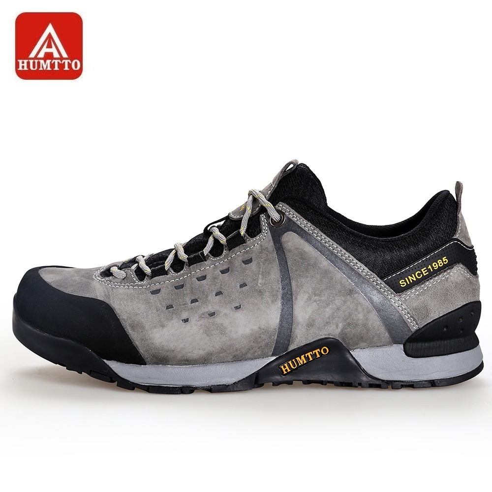 HUMTTO Walking Shoes for Men Genuine Leather Breathable Lace up Climbing Hunting Sports Shoes Anti collision