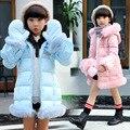 2016 Witer meninas coreano doce e bonito longo-jaqueta de mangas compridas com luvas rebarbas infantil macia pele-friendly roupas casaco