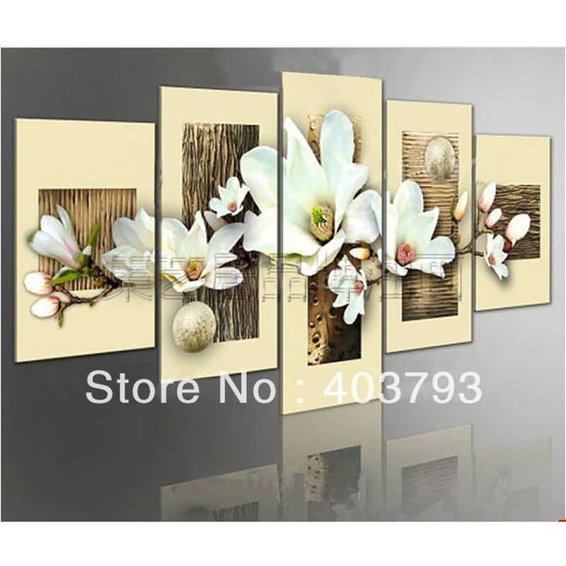 5panels modern asbrtac fashion oil painting for decoration flower Free shipping