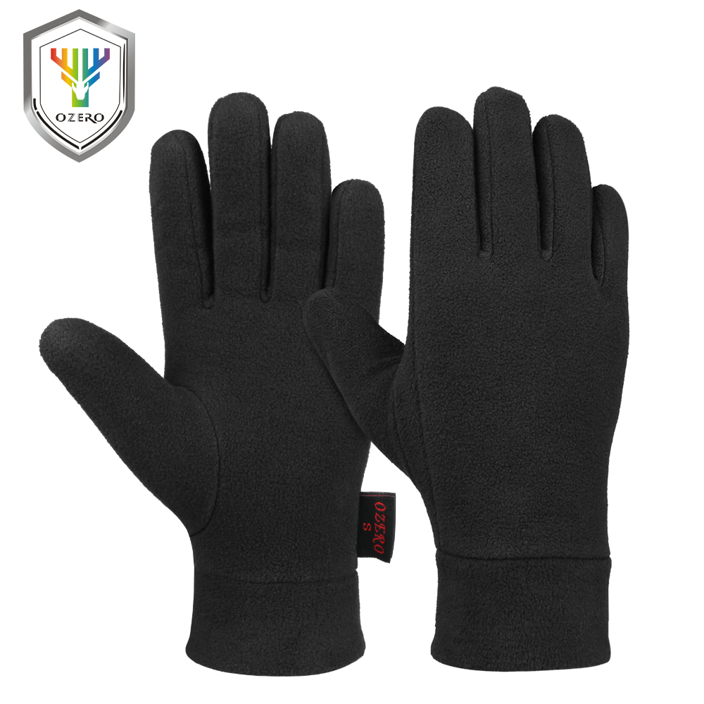 OZERO Windproof Warm Gloves Winter Glove Liners Thermal Polar Fleece Hands Warmer in Cold Weather for Men and Women Black Gray 100% waterproof and windproof durable dexterous comfortable and warm winter work glove black xxx large