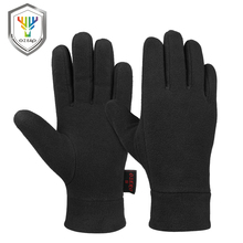 OZERO Windproof Warm Gloves Winter Glove Liners Thermal Polar Fleece Hands Warmer in Cold Weather for Men and Women Black Gray super cute cat style warm plush gloves for cold weather black pair