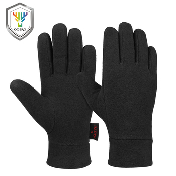 OZERO Windproof Warm Gloves Winter Glove Liners Thermal Polar Fleece Hands Warmer in Cold Weather for Men and Women Black Gray