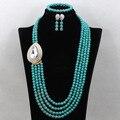 Turquesa de la manera Collar de Perlas de Vestuario Set Indian Jewelry Set Collar Pendientes Pulsera Envío Gratis TN141 Africano