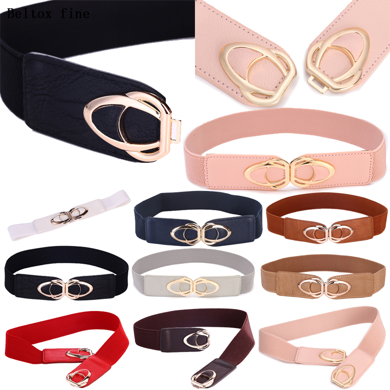 Fashion Women Plus Size Belts Casual Stretchy Metal Buckle Waistband Elastic Ladies Waist Belt Ceinture Women For Dresses