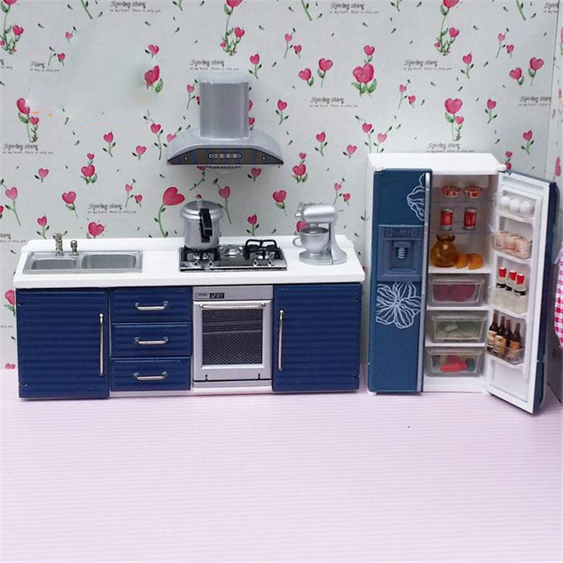 Doub K 1:12 Dollhouse Furniture toy for dolls simulation Miniature refrigerator stove kitchen sets pretend play toys for girls 1 12 dollhouse miniatures furniture re ment refrigerator hearth integral kitchen lampblack machine