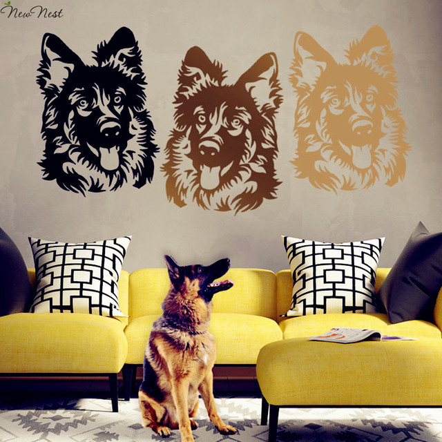 German Shepherd Dog Wall Decal Vinyl Sticker Home Decor, Shepherd Dog Head  Mural, Living