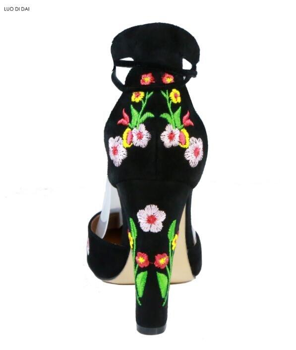 Pompes Broderie Nouveau De Talons Mariage As Up Chaussures Pic Femmes Chunky Fleur Talon Robe Haute 2018 Noir Lace Partie zwBSdx8q8