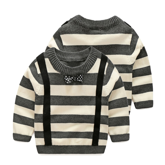 ef7a9ffea766 Fashion Knitted Kids Sweater With Tie Striped Cotton Boys Pullovers ...