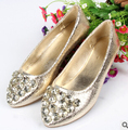 SUMMER STYLE flats shoes women Gold Silver Rhinestone car-stying flat shoes Rhinestone Cap Toe Embellishment Flats Metallic
