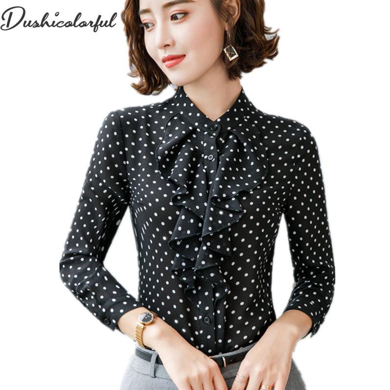 Dushicolorful polka dots blouse Women Casual Loose Chiffon long sleeve office ladies Ruffle Button Shirt black tops plus size