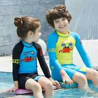2 Pcs/Set Boys Girls Cartoon Printing Wetsuit One Piece Swimsuit UV Protection Beach Wear