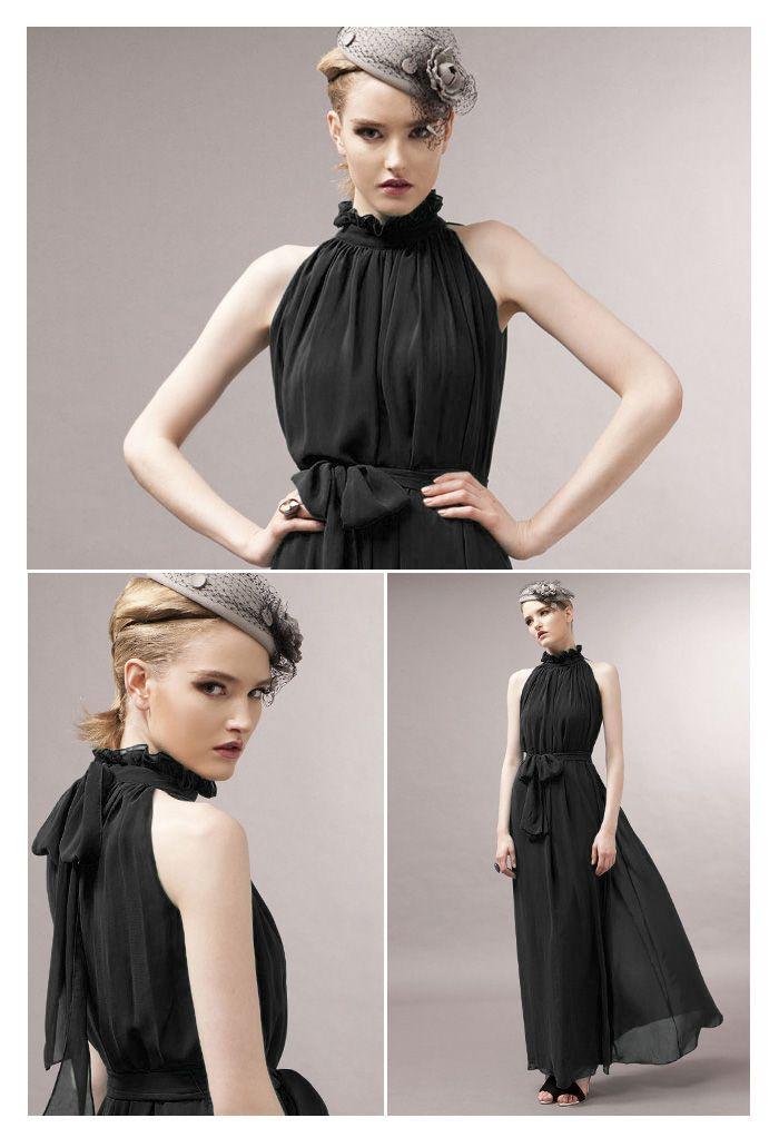 Petite Women Long Chiffon Dress - Maxi Halter Belt Dress