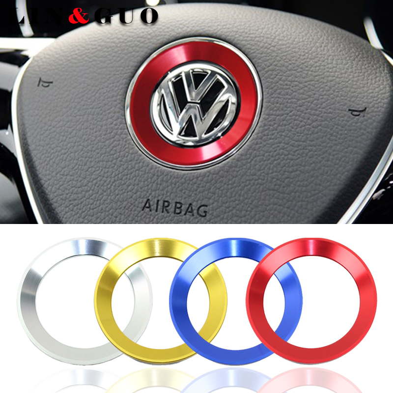 car styling steering wheel emblem fit for 2011-2016 VW <font><b>Volkswagen</b></font> golf 6 golf 7 POLO CC Tiguan PASSAT TOURAN Scirocco BEETLE image