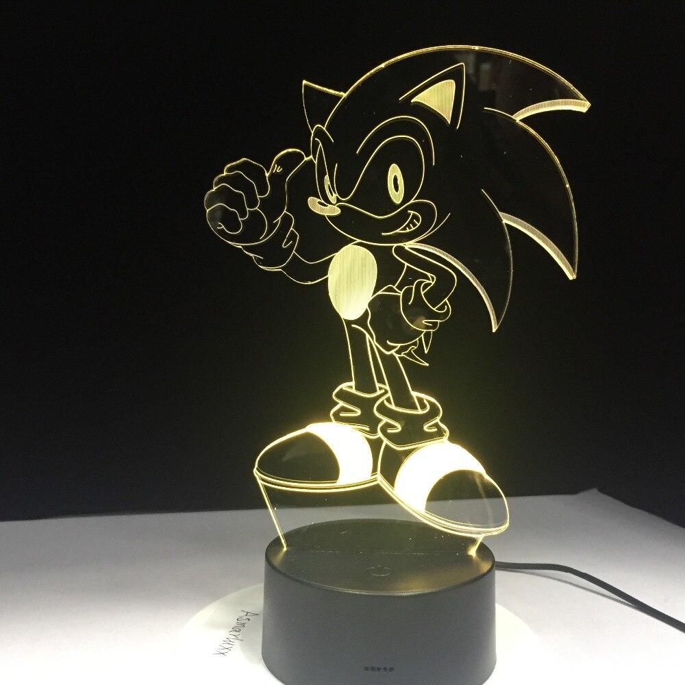 Аниме Соник Ежик фигурка 3D Светодиодная настольная лампа эффект вспышки 7 красочных акриловых визуальных иллюзий USB светодиодные лампы для ...