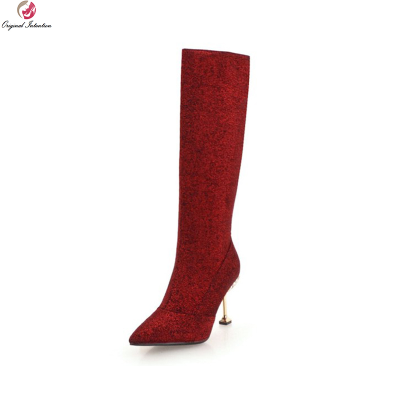 Original Intention Beautiful Women Knee High Boots Pointed Toe Thin High Heels Boots 5 Colors Shoes Woman Plus US Size 3-10.5Original Intention Beautiful Women Knee High Boots Pointed Toe Thin High Heels Boots 5 Colors Shoes Woman Plus US Size 3-10.5