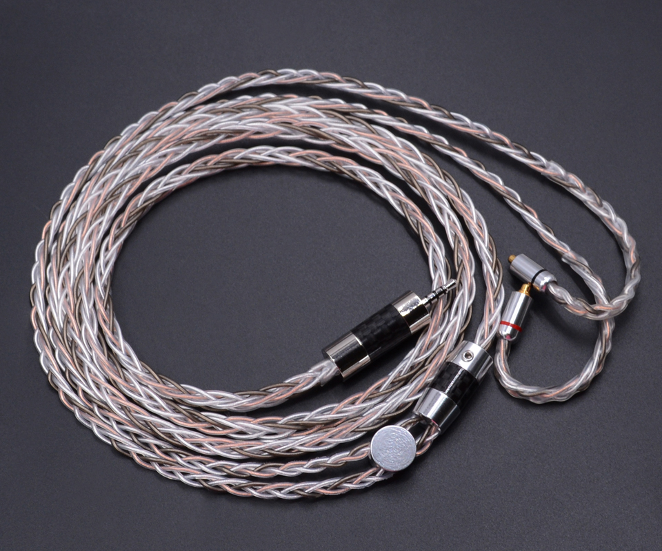 New NICEHCK 8 core Single Crystal Silver Plating Silver Copper Mixed Earphone Cable 2 5mm Balanced