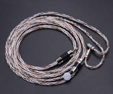 Yeni NICEHCK 8-core Tek Kristal Gümüş + Kaplama Gümüş + Bakır Karışık Kulaklık Kablosu 2.5mm Dengeli Kulaklık Kablosu MMCX kablo