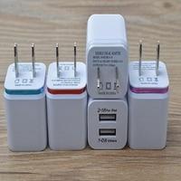 100 stks/partij Kleurrijke 2A + 1A ONS Plug AC Power Adapter Thuis Trave Muur 2 poort dual usb charger voor iphone 4 5 6 plus voor samsung htc