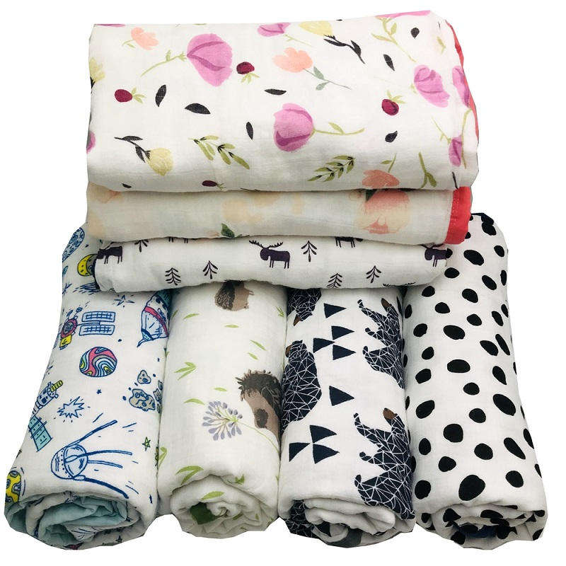 Ins Hot Four Layer 100% Cotton Muslin Baby Blanket For Newborn Swaddling Super Comfy Bedding Blankets Swaddle Wrap 120*120 CM