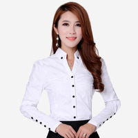 Spring Autumn Women Casual Blouses Fashion Career White Shirts Long Sleeve Button Design Clothing New Office