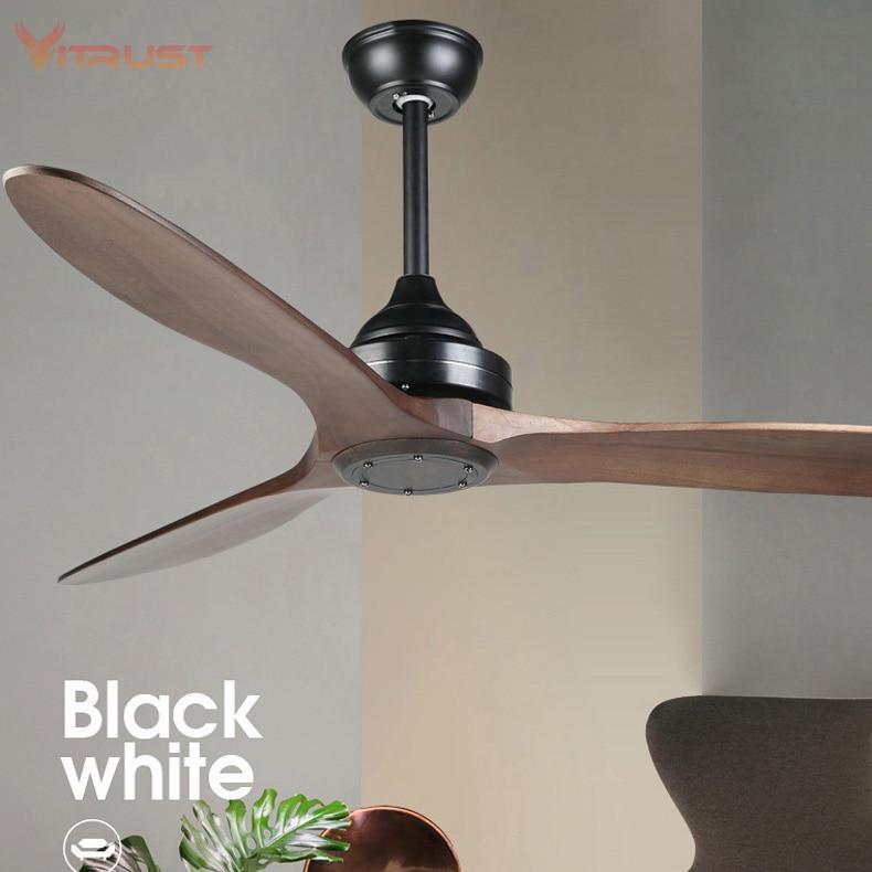 Ventilador de teto com Controle Remoto Em Madeira Maciça de Petróleo Friccionada Bronze Ventilador de Teto para Cozinha e Pátio