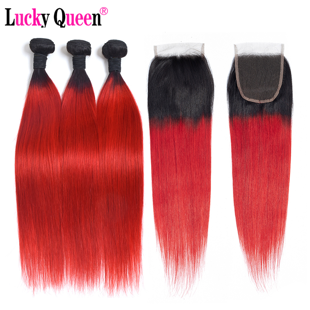1B Red Ombre Bundles With Closure Two Tone Brazilian Straight Hair 3 Bundles With 4 4