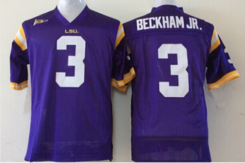 sports shoes c2ac5 9daab 3 Odell Beckham JR Jersey LSU Tigers Men's Stiched Name And ...