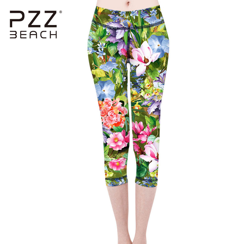 Sexy Women Yoga Pants 3/4 Length Seamless Pencil Pants Sports Slim Super Stretchy Capri Elasticity Compression Pants Floral