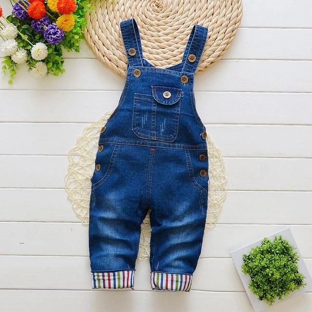 dbd1ab846 BibiCola baby Girls Boys Denim Jumpsuit Trousers baby Jeans Bib ...