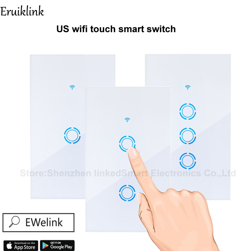 Ewelink APP AU/US Smart WIFI Switch 123 Gang Touch Panel Wireless Remote by phone Wifi Light Switch Works With Alexa Google Home jinvoo app us type smart wifi switch 2 gang 1 way touch panel wireless remote wifi light switch works with alexa google home