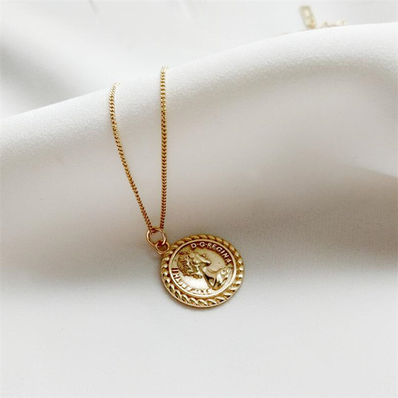 Gold Color 925 Sterling Silver Elizabeth Avatar Round Coin Statement Pendants Necklace Women Charms Choker Fashion Boho Jewelry coin fringe statement choker necklace
