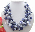5 Strands Natural Lapis&Blue Lace Agate Necklace  free shipment