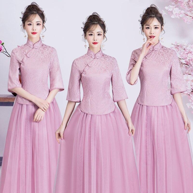 Elegant Bridesmaid Princess Sister Dress Cheongsam Women Wedding Party Qipao Vintage Chinese Style A-Line Bean Pink Prom Dresses