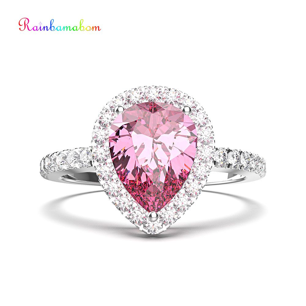 Rainbamabom Real 925 Solid Sterling Silver Pear Water Drop Pink Sapphire Gemstone Wedding Engagement Ring Fine Jewelry Wholesale