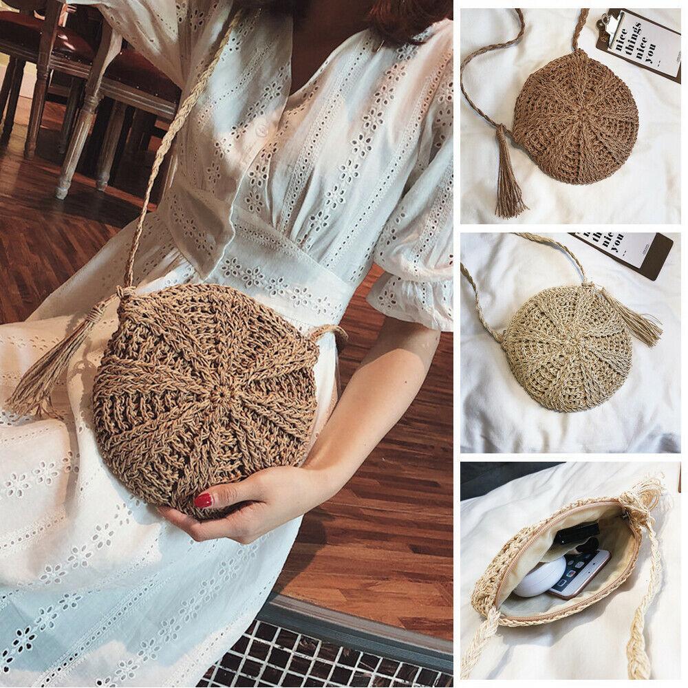 2019 Women New Arrival Cross Body Bag Round Circular Shape Zipper Handmade Rattan Wicker Straw Woven Tassel Beach Basket Holiday