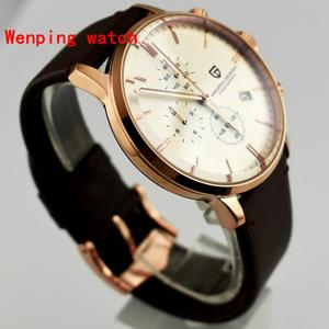 Image 1 - Top Fashion Design Pagani 43mm White Dial rose gold case Chronograph Japanese Quartz Mens Classical Simplicity watch gift