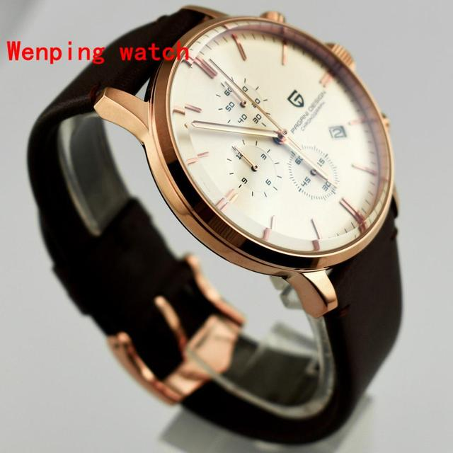 Top Fashion Design Pagani 43mm White Dial rose gold case Chronograph Japanese Quartz Mens Classical Simplicity watch gift